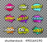 collection of nine multicolored ... | Shutterstock .eps vector #490164190