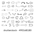vector hand drawn arrows.black... | Shutterstock .eps vector #490168180