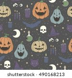 seamless pattern with halloween ... | Shutterstock .eps vector #490168213
