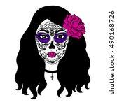 girl with sugar skull makeup....   Shutterstock .eps vector #490168726