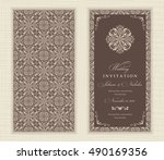 wedding invitation cards in an... | Shutterstock .eps vector #490169356