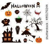set of halloween icons on white ... | Shutterstock .eps vector #490170244