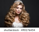 beautiful blonde bride in... | Shutterstock . vector #490176454