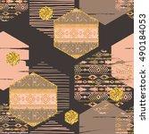 tribal ethnic seamless pattern... | Shutterstock .eps vector #490184053