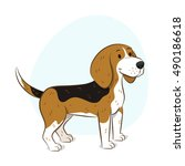 illustration of a cute beagle...   Shutterstock .eps vector #490186618