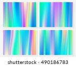 holographic background. vibrant ... | Shutterstock .eps vector #490186783