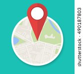 navigation geolocation icon.... | Shutterstock .eps vector #490187803