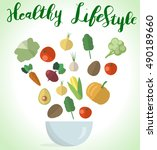 a healthy lifestyle  cover...   Shutterstock .eps vector #490189660