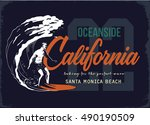surfer and big wave | Shutterstock .eps vector #490190509