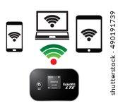 pocket wifi or portable...   Shutterstock .eps vector #490191739
