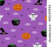 halloween pattern on a purple... | Shutterstock .eps vector #490195954