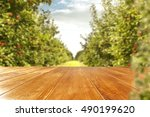 autumn background of trees and... | Shutterstock . vector #490199620