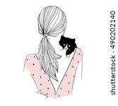 Stock vector fashion illustration of girl with kitten 490202140