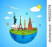 world landmarks vector concept | Shutterstock .eps vector #490202278