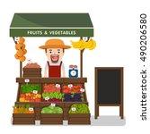 local market farmer selling... | Shutterstock .eps vector #490206580