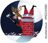reindeer takes a selfie with... | Shutterstock .eps vector #490224580