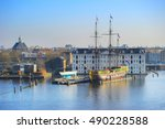 skyline of amsterdam with... | Shutterstock . vector #490228588