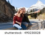 young hipster beautiful couple...   Shutterstock . vector #490230028
