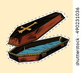 wooden coffin with christian... | Shutterstock .eps vector #490231036