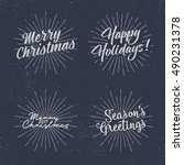 set of christmas lettering ... | Shutterstock .eps vector #490231378