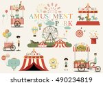 amusement park in flat colorful ...   Shutterstock .eps vector #490234819