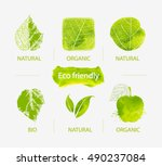 vector set of green labels and... | Shutterstock .eps vector #490237084