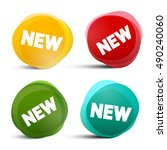 new circle labels   tags  ... | Shutterstock . vector #490240060