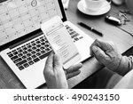 e mail contact message inbox... | Shutterstock . vector #490243150