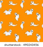 halloween funny ghost seamless... | Shutterstock .eps vector #490243456