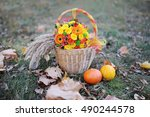 Two Small Pumpkins And Basket...