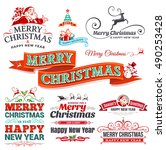 vector set of vintage christmas ... | Shutterstock .eps vector #490253428