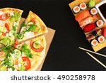 sushi vs pizza. business lunch... | Shutterstock . vector #490258978
