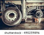 bus spare wheel tire waiting to ... | Shutterstock . vector #490259896
