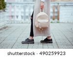 fashionable young woman in... | Shutterstock . vector #490259923