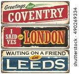 england cities retro souvenirs... | Shutterstock .eps vector #490269334