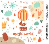 cute hand drawn postcard with... | Shutterstock .eps vector #490272580