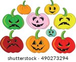 colorful halloween pumpkin... | Shutterstock .eps vector #490273294