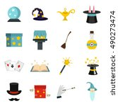 wizard magic wand icons set....   Shutterstock .eps vector #490273474