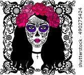 girl with sugar skull makeup.... | Shutterstock . vector #490275424