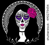 girl with sugar skull makeup.... | Shutterstock . vector #490275454
