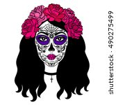 girl with sugar skull makeup.... | Shutterstock . vector #490275499