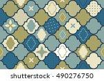 seamless retro ornamental... | Shutterstock .eps vector #490276750