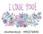 flowers  leaves and lovely... | Shutterstock . vector #490276840