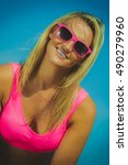 smiling young blonde pretty... | Shutterstock . vector #490279960