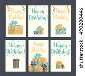set of vector cards with gift... | Shutterstock .eps vector #490280446
