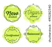 vector set of eco badges with... | Shutterstock .eps vector #490282540