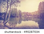 vintage toned serene lake with... | Shutterstock . vector #490287034