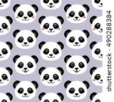 cute panda face. seamless... | Shutterstock .eps vector #490288384
