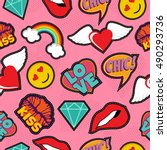seamless pattern with pink girl ... | Shutterstock . vector #490293736