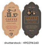 packaging design for coffee.... | Shutterstock .eps vector #490296160